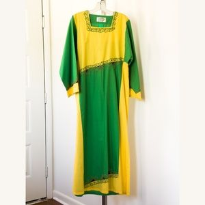 Handmade Cotton Dress of Asia Yellow Green Cotton